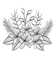 monochrome and rustic decoration floral vector image