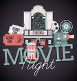 Movie Night Icon Set vector image vector image