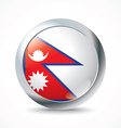 Nepal flag button vector image vector image