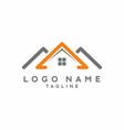 orange grey house real estate logo vector image