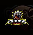 piranha mascot sport logo design vector image vector image