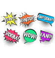 retro comic speech bubbles with yeah bang wow vector image