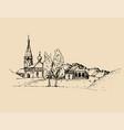 rural landscape hand drawn vector image