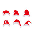 santa claus hats set flat cartoon style christmas vector image