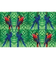 Seamless pattern with macaw parrots sitting on vector image vector image