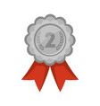 second place silver medal with red ribbon vector image