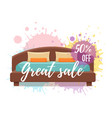 single colorful bed with pillows and blanket sale vector image vector image