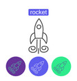 space rocket outline icons set vector image vector image