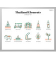 thailand elements linecolor pack vector image