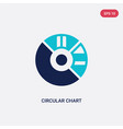 two color circular chart icon from business and vector image