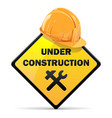 Under Construction Sign with Helmet vector image vector image