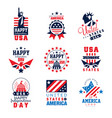 united states of america logo templates set happy vector image vector image