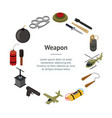 weapons 3d banner card circle isometric view vector image vector image