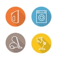 White goods flat linear icons set vector image