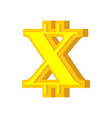 x letter bitcoin font cryptocurrency alphabet vector image vector image