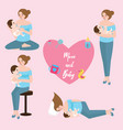 mom baby breast feeding infant care position love vector image