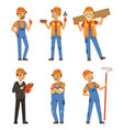 mascot design of builders in different action vector image