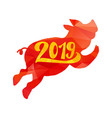2019 happy new year greeting with pig vector image vector image