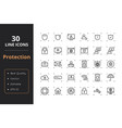 30 protection line icons vector image vector image