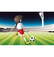 a girl playing soccer at field vector image vector image