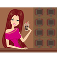Beautiful lady drinking coffee vector image