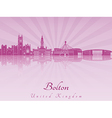 Bolton skyline in purple radiant orchid vector image vector image