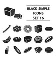 bread set icons in black style big collection vector image vector image