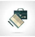 Briefcase and papers flat icon vector image