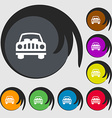 Car Icon sign Symbols on eight colored buttons vector image vector image