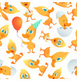 cartoon ducks pattern seamless background with vector image