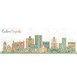 cedar rapids iowa skyline with color buildings vector image vector image