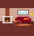 cozy livingroom with fireplace vector image vector image
