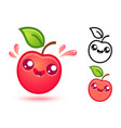 cute red apple with juicy drops vector image vector image
