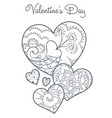cute valentines coloring book vector image vector image