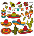 doodle mexico symbol collection isolated on white vector image vector image