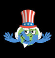 earth in hat uncle sam geographic usa political vector image
