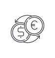 fast currency exchange line icon concept fast vector image