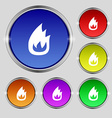 Fire flame icon sign Round symbol on bright vector image