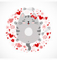 funny doodle smiley gray kitty design vector image