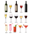 glass of red wine and bottle vector image vector image