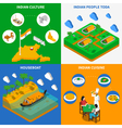 Indian Culture 4 Isometric Icons Square vector image vector image