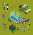 isometric flower farm concept floristic 3d vector image vector image