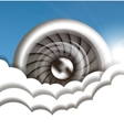 Jet engine in the sky vector image