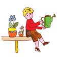 Kid watering flowers at home vector image vector image