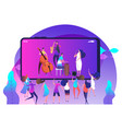 live music concept on phone and dancing people vector image