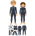 man and woman with different scuba diving gears vector image