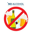 no alcohol sign strike through red circle vector image