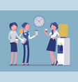 office cooler chat young female workers vector image
