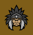 old man indian head mascot logo vector image vector image