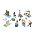 online library isometric books people reading vector image vector image